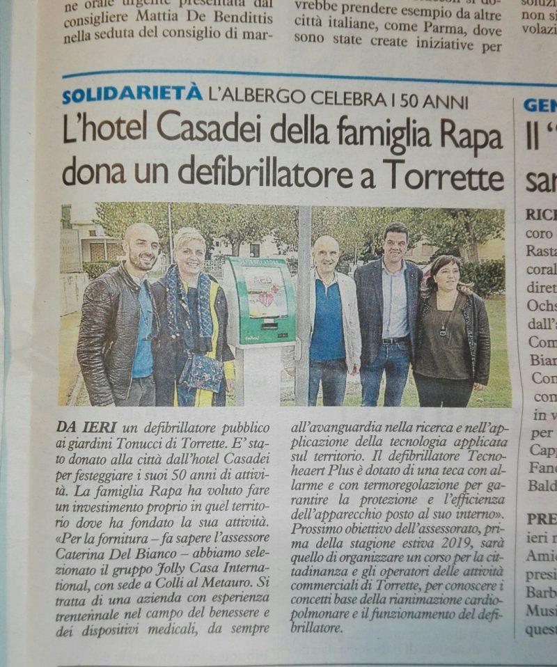 """A Torrette di Fano presso i giardini """"Tonucci"""" è da Oggi disponibile un defibrillatore pubblico."""